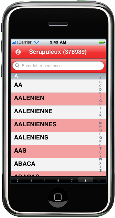 iphone screenshot of Scrapuleux : Dictionnaires des juex de mots